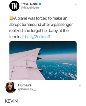 Travel, Baby, and Her: TN  Travel Noire  @TravelNoire  A plane was forced to make an  abrupt turnaround after a passenger  realized she forgot her baby at the  terminal: bit.ly/2ucksn3  Humaira  @humsey  KEVIN KEVIN