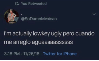 Iphone, Twitter, and Ugly: tn You Retweeted  @SoDamnMexican  i'm actually lowkey ugly pero cuando  me arreglo aguaaaaassssss  3:18 PM . 11/26/18 Twitter for iPhone El Pipiripow!
