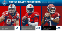 Memes, Soon..., and Nick: TO 50 DRAFT PROSPECTS DANIEL JEREMIAH  BI0  SOON  DE  NICK BOSA  OHIO ST  #1  DWAYNE HASKINS  OHIO ST  #15  QB  KYLER MURRAY  OKLAHOMA  .@MoveTheSticks' Top 50 @NFLDraft Prospects in 2019:  1. Nick Bosa 15. Dwayne Haskins 29. Kyler Murray FULL: https://t.co/ShWgBFV6NE https://t.co/6qswowATHP