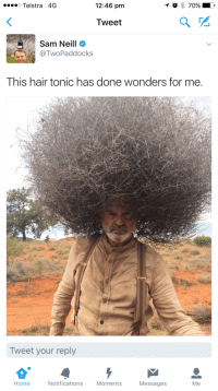Funny, Epic, and Sam: To 70% LD  o Telstra 4G  12:46 pm  Tweet  Sam Neill  Two Paddocks  This hair tonic has done wonders for me.  Tweet your reply  Notifications  Home  Moments  Messages  Me Sam Neill has epic hair