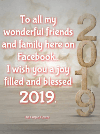 Blessed, Facebook, and Family: To all my  wonderful friends  and family here on  Facebook  I wish you a joy  filled and blessed  2019  The Purple Flower