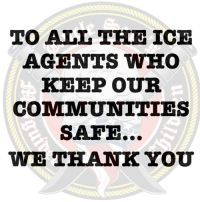 All The, Ice, and Who: TO ALL THE ICE  AGENTS WHO  KEEP OUR  COMMUNITIES  SAFE  WE TKANK YOU