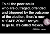 """Join the fun: fb.com/stophillaryin2016: To all the poor souls  who are outraged, offended,  and triggered by the outcome  of the election, there's now  JOIN US  a """"SAFE ZONE"""" for you  N 2016  to go to. It's called Mexico.  W Kelley Lucas Join the fun: fb.com/stophillaryin2016"""