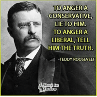 teddy roosevelt: TO ANGER A  CONSERVATIVE,  LIE TO HIM  TO ANGER A  LIBERAL, TELL  HIM THE TRUTH.  -TEDDY ROOSEVELT  ENStand for  itedom