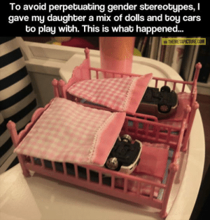 srsfunny:Just A Dad Trying To Do The Right Thing: To avoid perpetuating gender stereotypes, I  gave my daughter a mix of dolls and toy cars  to play with. This is what happened...  A THEMETAPICTURE COM srsfunny:Just A Dad Trying To Do The Right Thing