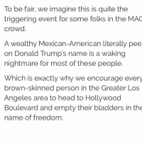 Head, Memes, and American: To be fair, we imagine this is quite the  triggering event for some folks in the MAC  crowd  A wealthy Mexican-American literally pee  on Donald Trump's name is a waking  nightmare for most of these people  Which is exactly why we encourage every  brown-skinned person in the Greater Los  Angeles area to head to Hollywood  Boulevard and empty their bladders in the  name of freedom.
