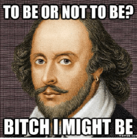 Shakespeare was born in the wrong time.: TO BE OR NOT TO BE  BITCHI MIGHT BE Shakespeare was born in the wrong time.