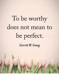 Memes, Mean, and 🤖: To be worthy  does not mean to  be perfect.  Gerrit W Gong To be worthy does not mean to be perfect. - Gerrit W. Gong powerofpositivity