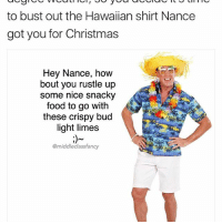 @fashiondads_ is like the real life version of this account and I'm in love with it: to bust out the Hawaiian shirt Nance  got you for Christmas  Hey Nance, how  bout you rustle up  some nice snacky  food to go with  these crispy bud  light limes  @middle class fancy @fashiondads_ is like the real life version of this account and I'm in love with it