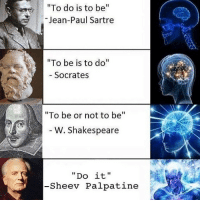 "Finn, Memes, and Shakespeare: ""To do is to be  Jean-Paul Sartre  ""To be is to do  Socrates  ""To be or not to be  W. Shakespeare  Do it  Sheev Palpatine Palpatine the Wise... 😂💯 Tag someone who'll like this account! Admin: Finn, SWHub"