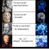 "God, Memes, and Shakespeare: To do is to be  Jean-Paul Sartre  ""To be is to do""  Socrates  ""To be or not to be""  W. Shakespeare  Do it.  -She ev Palpatine Is palpatine a god? Comment your favorite palpatine quote below!"
