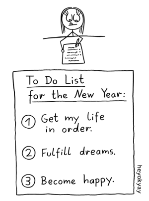 We can do it! Let's make 2020 our year.: To Do List  for the New Year:  O Get my life  in order.  (2 Fulfill dreams.  3 Become happy.  heyokyay We can do it! Let's make 2020 our year.