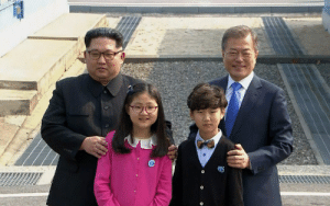 To ensure peace, North and South Korea take each others child as hostage on April 26, 2018.: To ensure peace, North and South Korea take each others child as hostage on April 26, 2018.