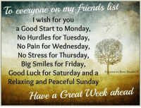 Friday, Memes, and Mondays: To everyone on my fuenas last  I wish for you  a Good Start to Monday,  No Hurdles for Tuesday,  No Pain for Wednesday,  No Stress for Thursday  Big Smiles for Friday,  Good Luck for Saturday and a  CREATED BY DAVE HEDGES  Relaxing and Peaceful Sunday  Have a Great week ahead