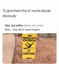 Online, Why, and Did: To give them the ol'razzle dazzle  obviously  Alex, but online @Alex_but_online  Why... why did it need fingers  CAUTION  ICY  CONDITIONS hi