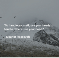 """Memes, Eleanor Roosevelt, and 🤖: """"To handle yourself, use your head to  handle others, use your heart.""""  Eleanor Roosevelt <3 PickTheBrain  ."""