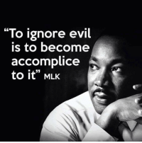 "Stand up for what you believe: ""To ignore evil  IS to become  accomplice  to it"" MLK Stand up for what you believe"