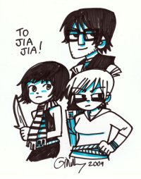"Target, Tumblr, and Blog: To  JIA  KTL1L  2009 radiomaru: Knives, Gideon and Roxy, 2009  Done as a gift for a stunt performer on the movie - I think he doubled all three of these characters at certain points. So I guess this is the only time I drew ""movie version"" Knives Chau."