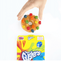 Children, Run, and Tumblr: TO OPEN LIFT TAB  FRUI  FLA ORED  VAS  KEEP KIDS SAFE  To avoid choking, give Fruit  Flavored Snacks only to children  who can easily swallow chewy  oods. Children should be seated  and supervised while eating.  RUn  UIT  EDUCATION  EXPIRES 11/1/20  TM  UIT  FRUIT  FLAVORED  SNACKS soaprock: gushers:  The ULTIMATE sprinkled donut.