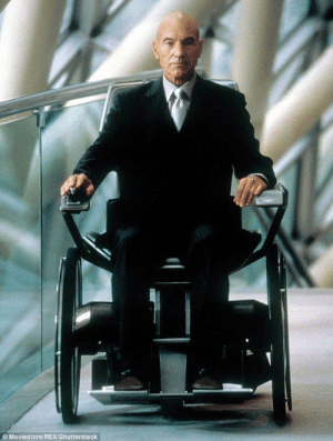 To prepare for the role of paraplegic Charles Xavier in the X-men movies, Sir Patrick Stewart spent over 50 years sitting in chairs: To prepare for the role of paraplegic Charles Xavier in the X-men movies, Sir Patrick Stewart spent over 50 years sitting in chairs