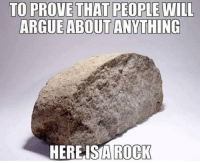 rock: TO PROVE THAT PEOPLE WILL  ARGUE ABOUT ANYTHING  HEREISIA  ROCK