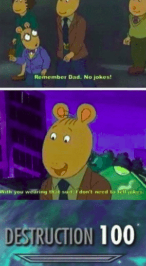 That's a lotta damage! by Angery_Neeson52 FOLLOW 4 MORE MEMES.: To  Remember Dad. No jokes!  With you wearing that suit don't need to tell jokes  DESTRUCTION 100 That's a lotta damage! by Angery_Neeson52 FOLLOW 4 MORE MEMES.