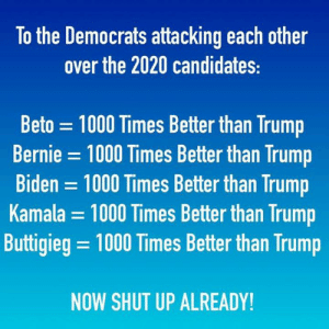 biden: To the Democrats attacking each other  over the 2020 candidates:  Beto 1000 Times Better than Trump  Bernie = 1000 Times Better than Trump  Biden 1000 Times Better than Trump  Kamala = 1000 Times Better than Trump  Buttigieg = 1000 Times Better than Trump  NOW SHUT UP ALREADY