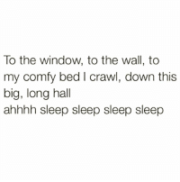 Funny, Sleep, and Crawl: To the window, to the wall, to  my comfy bed I crawl, down this  big, long hall  ahhhh sleep sleep sleep sleep Yeeeeeeeaaaaahhhhhh😴😴