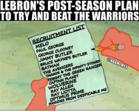 Will this be enough? #CavsNation: TO TRY AND BEAT THE WARRIORS  LEBRON'S POST-SEASON PLAN  EL,FORGE  PAUL GEORGE  GEORGE CLOONEY  JIMMY BUTLER  BRUCE WAYNE'S BUTLER  THE AVENGERS  THANOS &THE INFINMYSTON  MMY THE GREEN RANGE  ONBAMEMES  CAPTAIN PLANET  WOLVERINE  OPTIMUS PRIME  MINIONS FROM DESPICABLE ME Will this be enough? #CavsNation