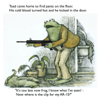 """Home, Http, and Cold: Toad came home to find pants on the floor.  His cold blood turned hot and he kicked in the door.  """"Ie's too late now frog, I know what I've seen!  Now where is the clip for my AR-15?"""" <p>I'd like to sell my shares. Not sure if they'll last! via /r/MemeEconomy <a href=""""http://ift.tt/2pCbTAY"""">http://ift.tt/2pCbTAY</a></p>"""