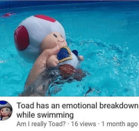 Swimming: Toad has an emotional breakdown  while swimming  Am I really Toad? 16 views 1 month ago