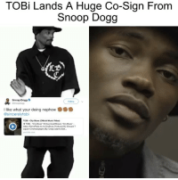 "@sincerelytobi getting BIG @snoopdogg co-sign. Is he up next?: TOBi Lands A Huge Co-Sign From  Snoop Dogg  Snoop Dogg  Follow  I like what your doing nephew  @sincerelytobi  TOBI- City Blues (Official Music Video)  TOBi . ""City Blues"" → Download/Stream-City Blues. .  https://SamePlate.Ink.to/CityBlues Produced By Edward T  Liguori Cinematography By Craig Calamis Edit. @sincerelytobi getting BIG @snoopdogg co-sign. Is he up next?"