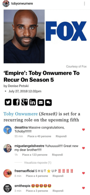 jessicatrish:  I love one (1) supportive cast: tobyonwumere  FOX  Courtesy of Fox  'Empire': Toby Onwumere To  Recur On Season 5  by Denise Petski  July 27, 2018 12:32pm  Toby Onwumere (Sense8) is set for a  recurring role on the upcoming fifth   desaitina Massive congratulations,  55 min  Piace a 40 persone  Rispondi  miguelangelsilvestre Yuhuuuui!! Great new  my dear brother!!!!  1h Piace a 123 persone Rispondi  Visualizza risposte (1)  freemaofficial S HUTUPI  8 min Piace a 4 persone Rispondi  smithespisざざざざざ  3 min Piace a 3 persone Rispondi jessicatrish:  I love one (1) supportive cast