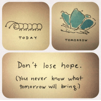 A Dream, Taken, and Goal: TODA Y  TOMORROW  Don+ lose hope.  (You never know what  tomorrow will bring)