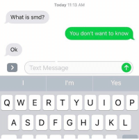 Smd, Texted, and Telled: Today 11:13 AM  What is smd?  You don't want to know  Ok  Text Message  I'm  Yes  Q W E R T Y U I O P  A S D F G H J K L Don't tell grandma