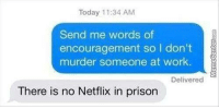 Is that enough inspiration for you?: Today 11:34 AM  Send me words of  encouragement so I don't  murder someone at work.  Delivered  There is no Netflix in prison Is that enough inspiration for you?