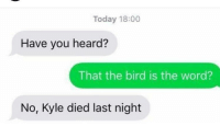 Have You Heard: Today 18:00  Have you heard?  That the bird is the word?  No, Kyle died last night
