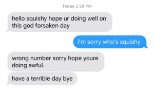 God, Hello, and Sorry: Today 2:28 PM  hello squishy hope ur doing well on  this god forsaken day  i'm sorry who's squishy  wrong number sorry hope youre  doing awful  have a terrible day bye