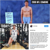 "Memes, Goat, and Rush: TODAY  2000 NFL COMBINE  CBSSports  tombrady  Follow  54m  99,750 likes  tombrady found my combine shirt from 17  years ago and it got me thinking. This is  what they said about me then  Poor build  Skinny, Lacks great physical stature and  strength, Lacks mobility and ability to avoid  the rush, Lacks a really strong arm, Can't  drive the ball downfield, Does not throw a  really tight spiral, System-type player who  E. can get exposed if forced to ad lib, Gets  knocked down easily  As @edelman 11 always reminds me You  can prove em right or you can prove em  wrong!"" Good luck to all of you this  weekend! 5 Super Bowls later, Tom Brady reminds us that the GOAT isn't always the first pick in the draft."