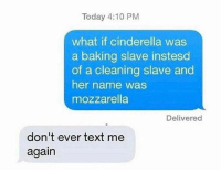 Cinderella , Text, and Today: Today 4:10 PM  what if cinderella was  a baking slave instesd  of a cleaning slave and  her name was  mozzarella  Delivered  don't ever text me  again