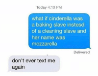 Cinderella , Memes, and Text: Today 4:10 PM  what if cinderella was  a baking slave instesd  of a cleaning slave and  her name was  mozzarella  Delivered  don't ever text me  again