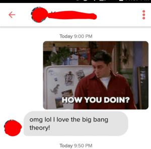 The conversation went downhill from the start.: Today 9:00 PM  HOW YOU DOIN?  omg lol I love the big bang  theory  Today 9:50 PM The conversation went downhill from the start.