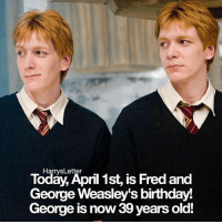 Birthday, Memes, and Happy Birthday: Today, April 1st, is Fred and  Harrys Letter  George Weasley's birthday  George  is now 39 years old! Happy birthday Fred and George !! I'm about to submit a job application for @barnesandnoble and I really really hope I get it ! QOTP What's your dream job ?