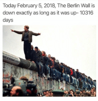 Today, Berlin, and Berlin Wall: Today February 5, 2018, The Berlin Wall is  down exactly as long as it was up- 10316  days <p>Outdated but when you get a chance to tear down a wall, tear it down</p>