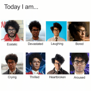 Which Richard Ayoade are YOU? by Hassaan18 FOLLOW 4 MORE MEMES.: Today I am...  Laughing  Devastated  Bored  Ecstatic  Crying  Thrilled  Heartbroken  Aroused Which Richard Ayoade are YOU? by Hassaan18 FOLLOW 4 MORE MEMES.