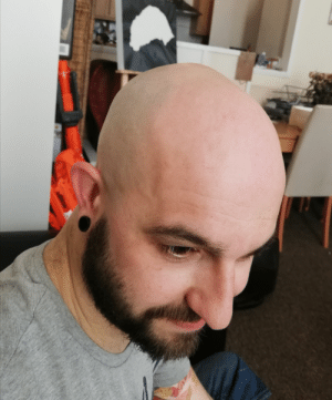 Head, The Rock, and Today: Today I finally bit the bullet and joined the ranks of The Rock, Luthor and Picard by giving up on trimming my balding head, and just wet shaved it all off. I think it turned out alright!