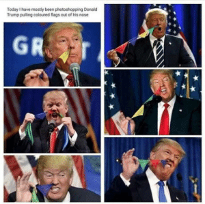 Donald Trump, Today, and Trump: Today I have mostly been photoshopping Donald  Trump pulling coloured flags out of his nose And for my next trick!