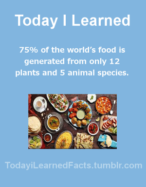 Facts, Food, and Tumblr: Today I Learned  75% of the world's food is  generated from only 12  plants and 5 animal species.  TodaviLearnedFacts.tumblr.com todayilearnedfacts: Follow TodayiLearnedFacts for more Daily Facts! Source