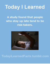 Facts, News, and Tumblr: Today I Learned  A study found that people  who stay up late tend to be  risk-takers.  TodaviLearned Facts.tumblr.com todayilearnedfacts: Follow TodayiLearnedFacts for more Daily Facts! Source