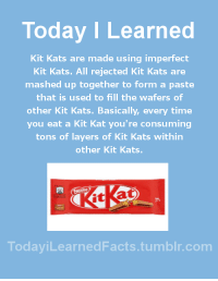 Facts, Food, and Tumblr: Today I Learned  Kit Kats are made using imperfect  Kit Kats. All rejected Kit Kats are  mashed up together to form a paste  that is used to fill the wafers of  other Kit Kats. Basically, every time  you eat a Kit Kat you're consuming  tons of layers of Kit Kats within  other Kit Kats.  TodaviLearned Facts.tumblr.com todayilearnedfacts: Follow TodayiLearnedFacts for more Daily Facts! Source